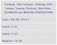 Waktu Imsak dan Berbuka puasa 1Malaysia